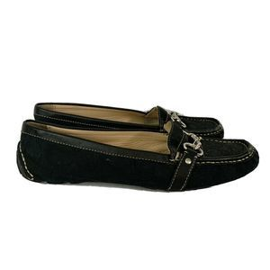 Coach Scarlet Driving Loafers Flats Blk Monogram